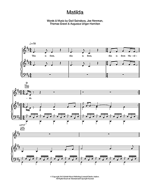 Download Alt-J 'Matilda' Digital Sheet Music Notes & Chords and start playing in minutes