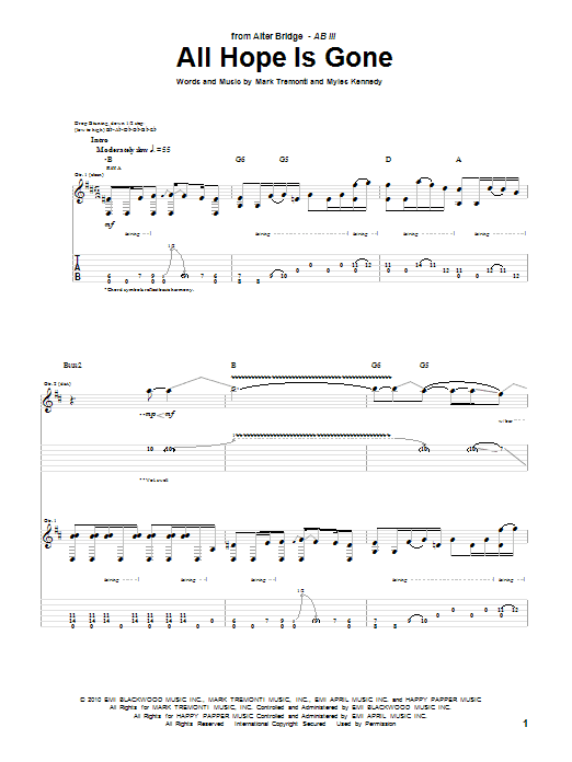 Alter Bridge All Hope Is Gone sheet music preview music notes and score for Guitar Tab including 17 page(s)