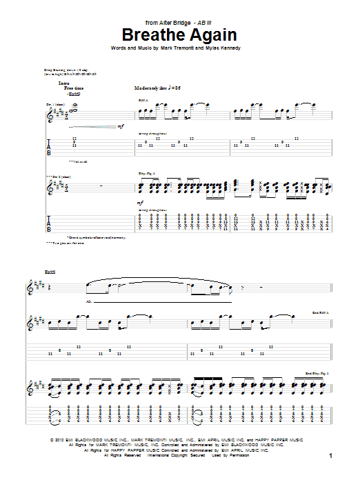 Alter Bridge Breathe Again sheet music preview music notes and score for Guitar Tab including 11 page(s)