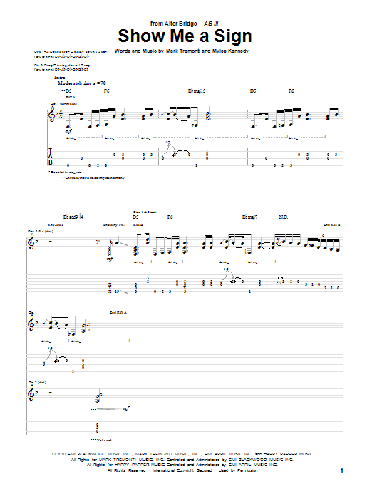 Alter Bridge Show Me A Sign sheet music preview music notes and score for Guitar Tab including 12 page(s)