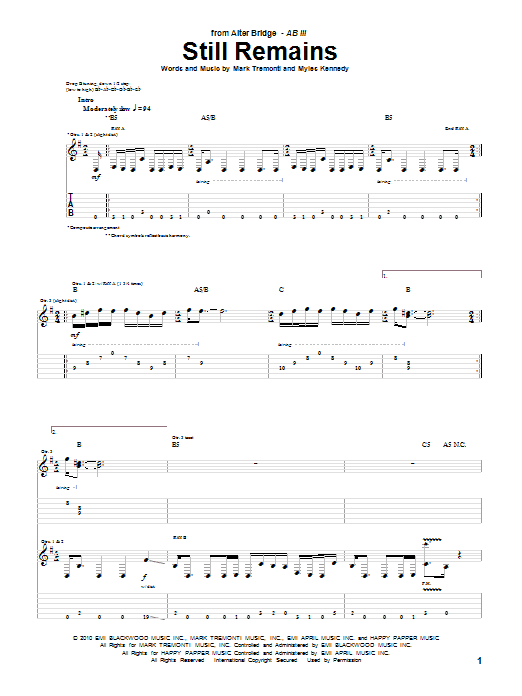 Alter Bridge Still Remains sheet music preview music notes and score for Guitar Tab including 9 page(s)
