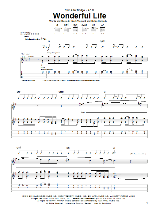 Alter Bridge Wonderful Life sheet music preview music notes and score for Guitar Tab including 9 page(s)