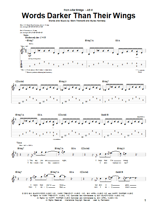 Alter Bridge Words Darker Than Their Wings sheet music preview music notes and score for Guitar Tab including 8 page(s)