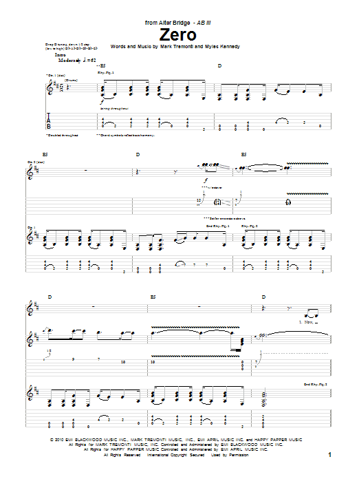Alter Bridge Zero sheet music preview music notes and score for Guitar Tab including 11 page(s)