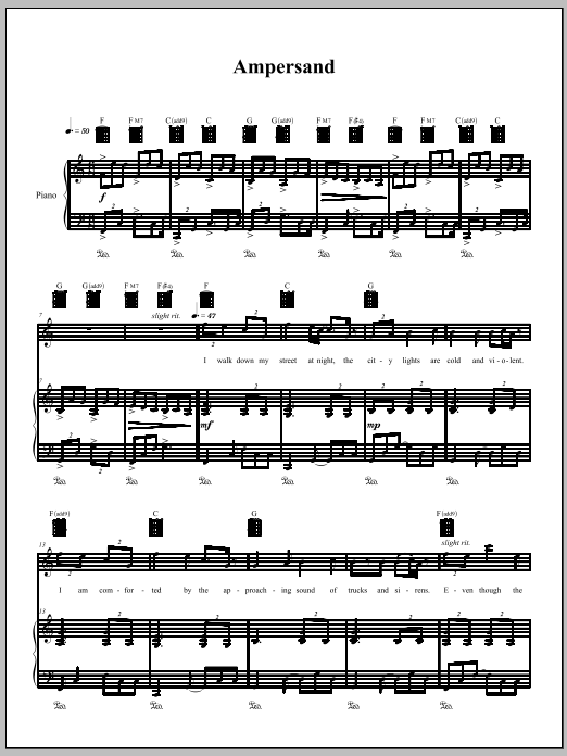 Download Amanda Palmer 'Ampersand' Digital Sheet Music Notes & Chords and start playing in minutes