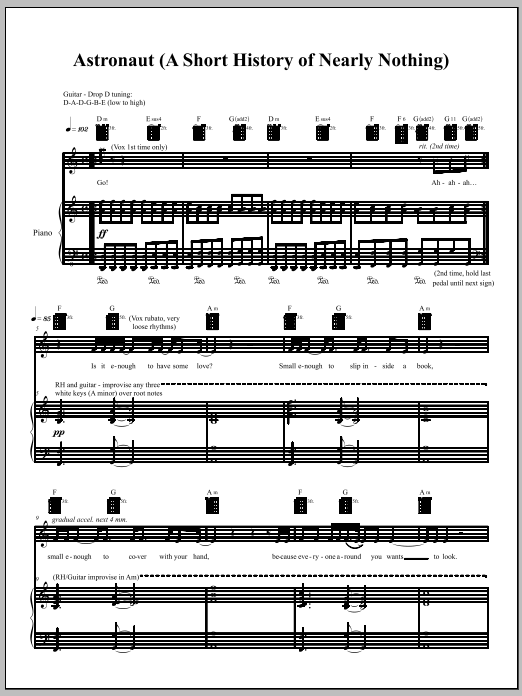 Download Amanda Palmer 'Astronaut' Digital Sheet Music Notes & Chords and start playing in minutes