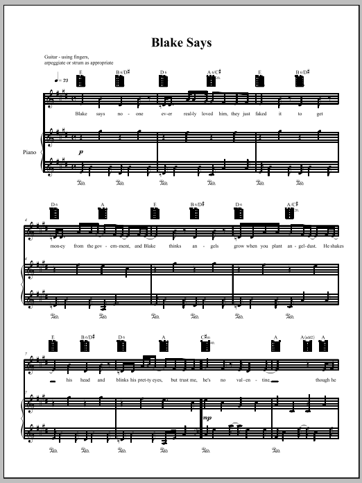 Download Amanda Palmer 'Blake Says' Digital Sheet Music Notes & Chords and start playing in minutes