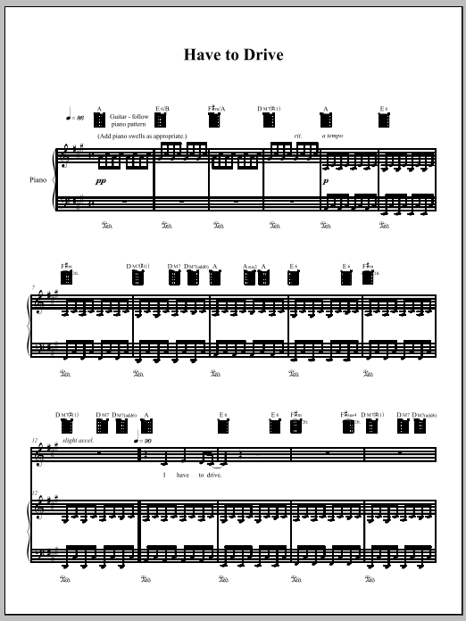 Download Amanda Palmer 'Have To Drive' Digital Sheet Music Notes & Chords and start playing in minutes