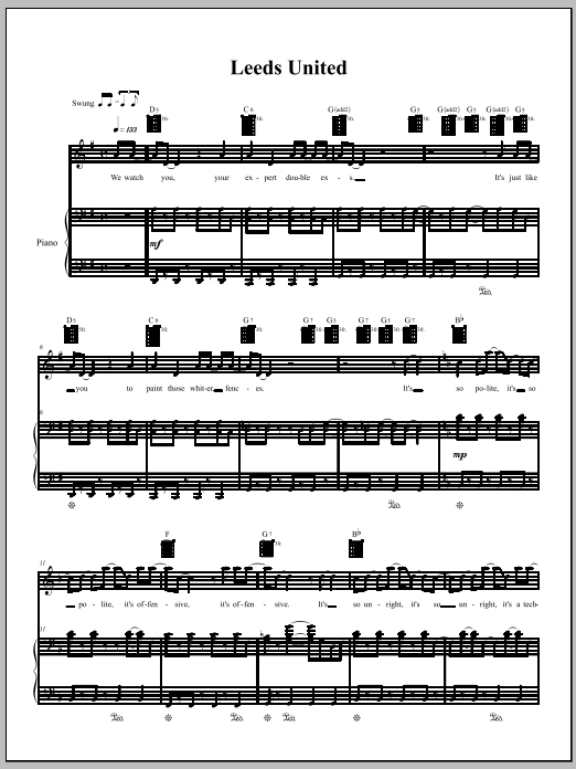 Download Amanda Palmer 'Leeds United' Digital Sheet Music Notes & Chords and start playing in minutes