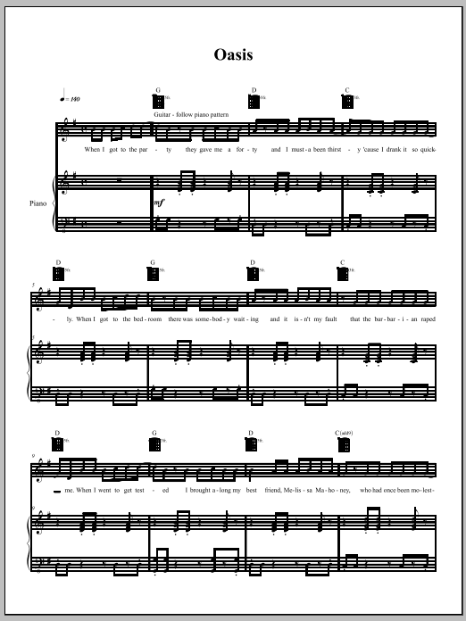 Download Amanda Palmer 'Oasis' Digital Sheet Music Notes & Chords and start playing in minutes