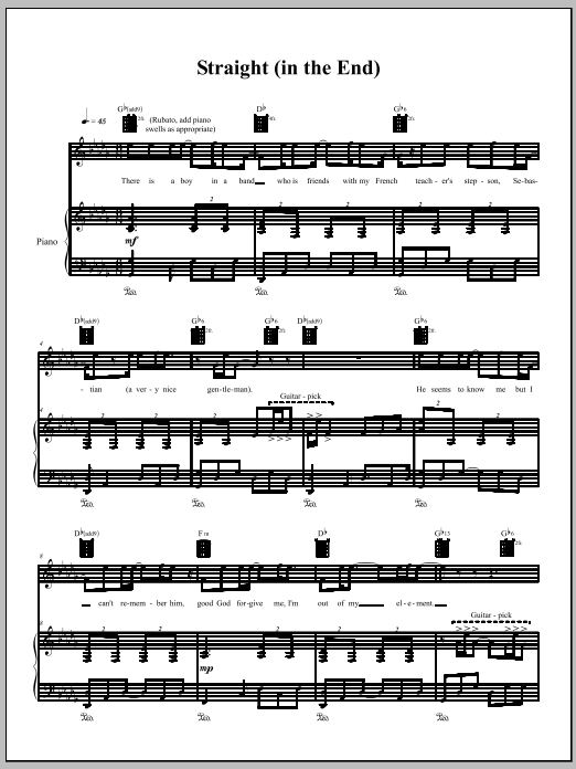 Download Amanda Palmer 'Straight (In The End)' Digital Sheet Music Notes & Chords and start playing in minutes