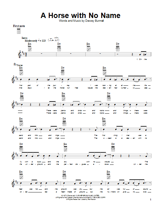 Download America 'A Horse With No Name' Digital Sheet Music Notes & Chords and start playing in minutes