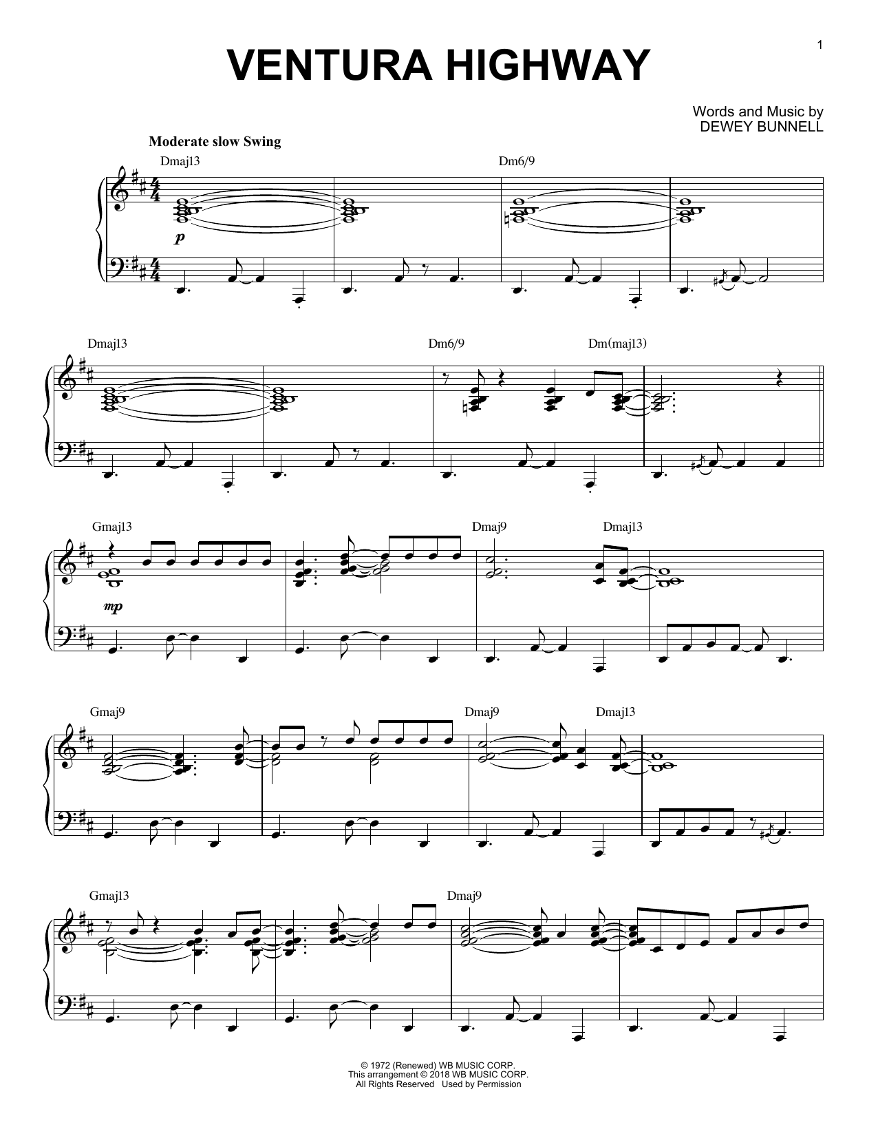 Download America 'Ventura Highway' Digital Sheet Music Notes & Chords and start playing in minutes