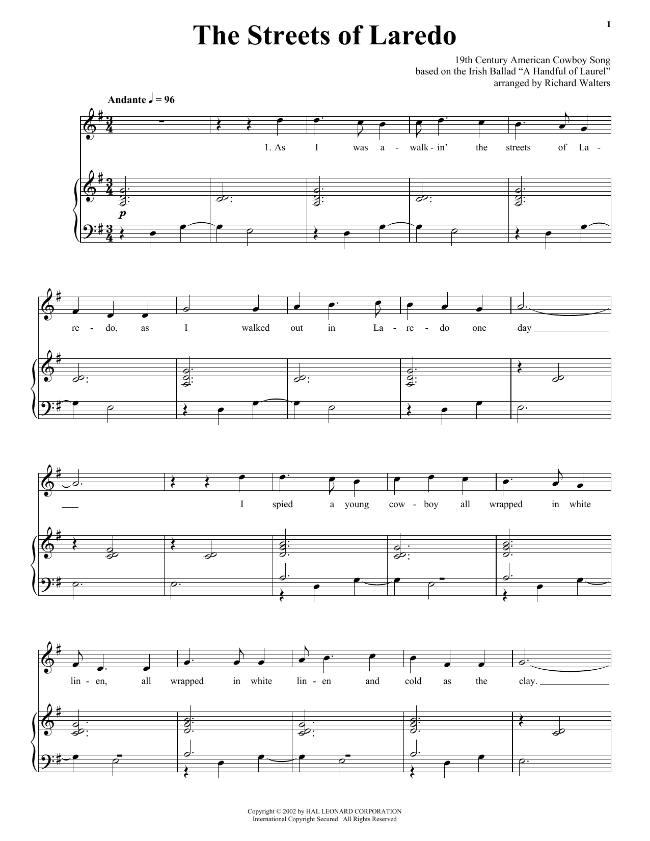 Download American Cowboy Song 'The Streets Of Laredo' Digital Sheet Music Notes & Chords and start playing in minutes