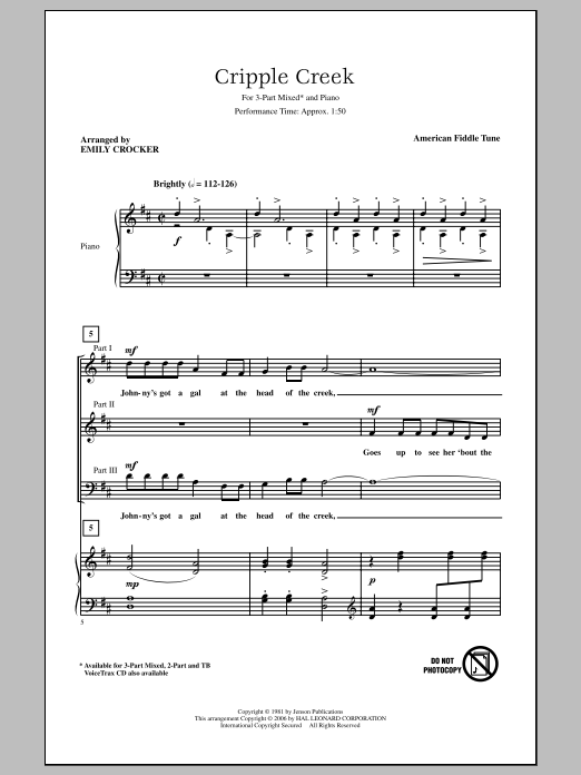 Download American Fiddle Tune 'Cripple Creek (arr. Emily Crocker)' Digital Sheet Music Notes & Chords and start playing in minutes