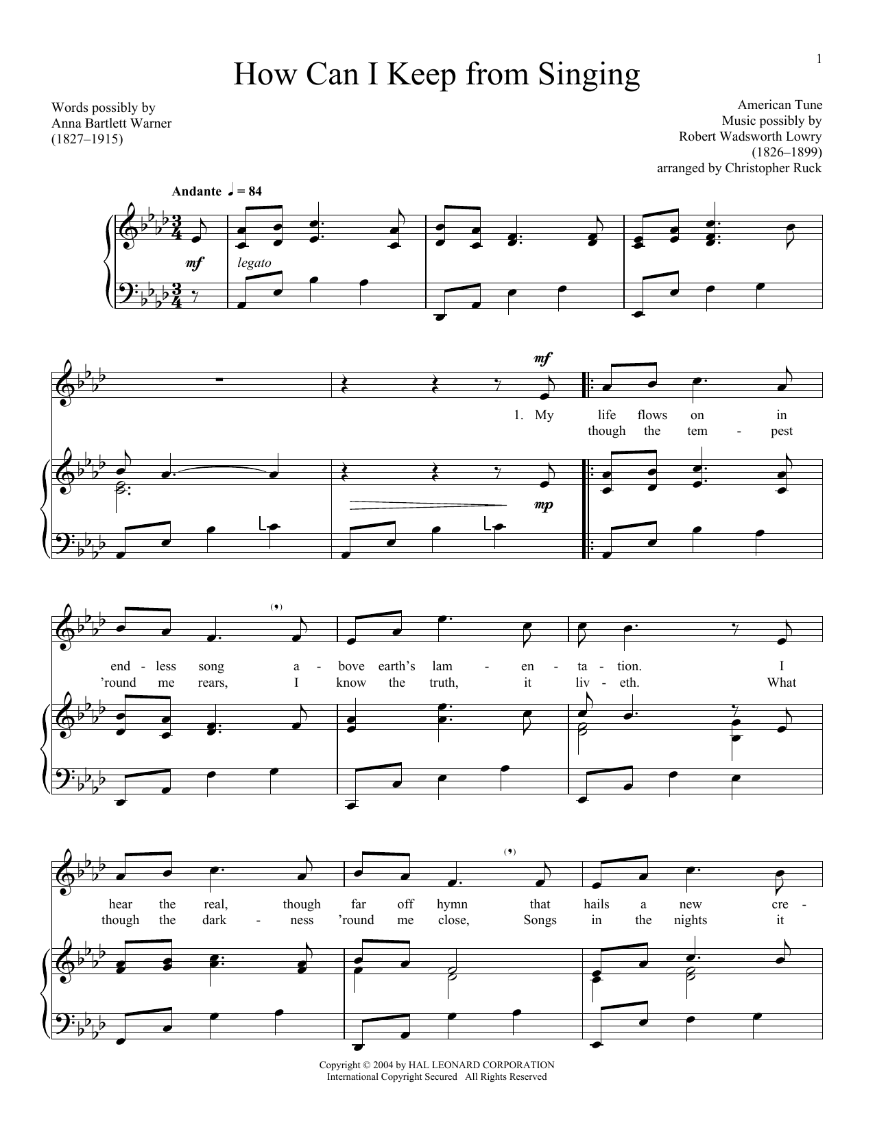 Traditional American Folk Song How Can I Keep From Singing sheet music preview music notes and score for Piano & Vocal including 4 page(s)