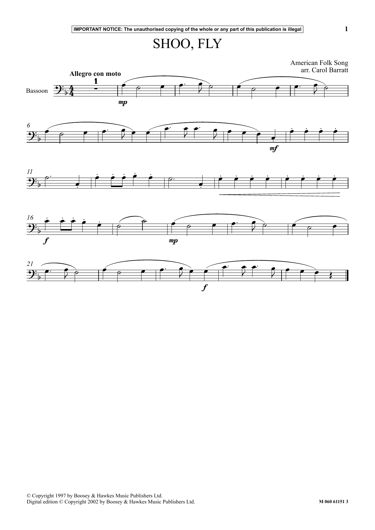 Download American Folk Song 'Shoo Fly' Digital Sheet Music Notes & Chords and start playing in minutes