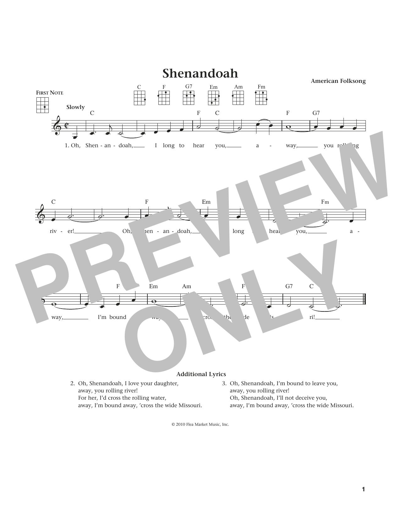 American Folksong Shenandoah sheet music notes and chords