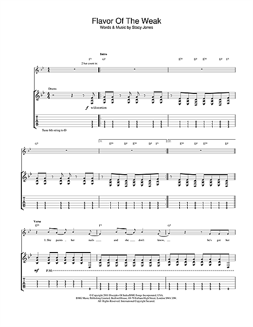 American Hi-Fi Flavor Of The Weak sheet music notes and chords