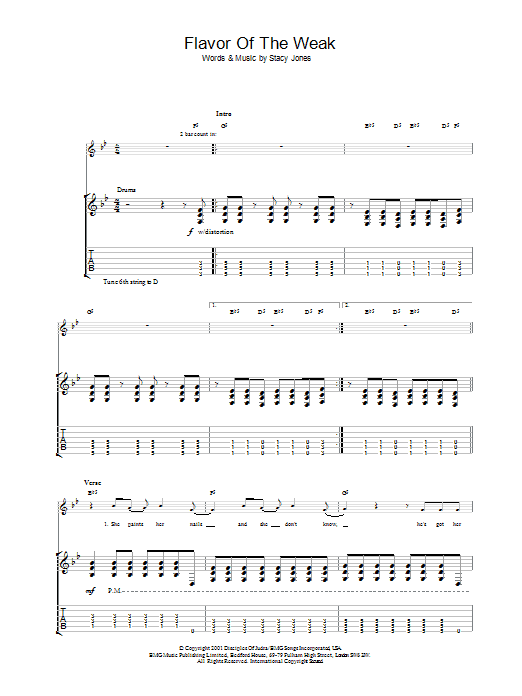American Hi-Fi Flavor Of The Weak sheet music preview music notes and score for Guitar Tab including 7 page(s)