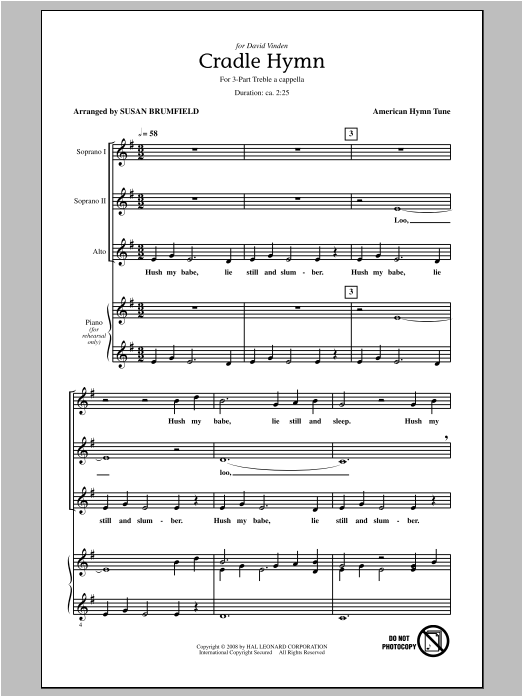 Download Susan Brumfield 'Cradle Hymn' Digital Sheet Music Notes & Chords and start playing in minutes