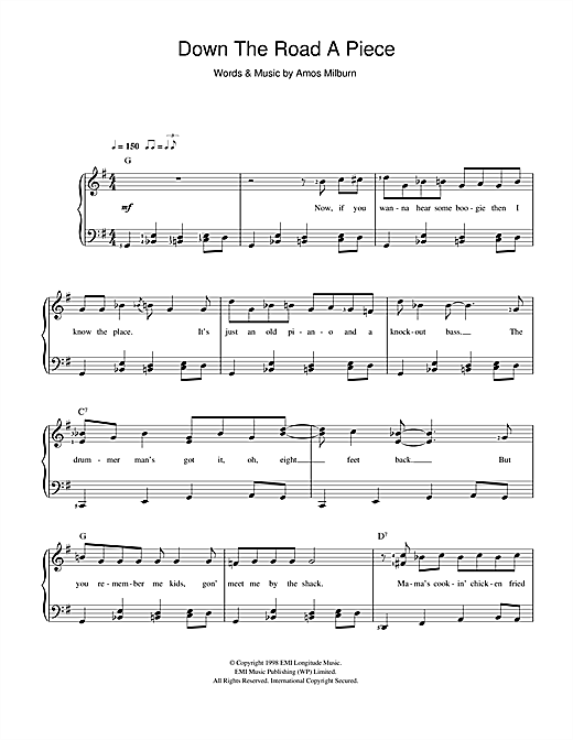 Amos Milburn Down The Road A Piece sheet music preview music notes and score for Beginner Piano including 2 page(s)