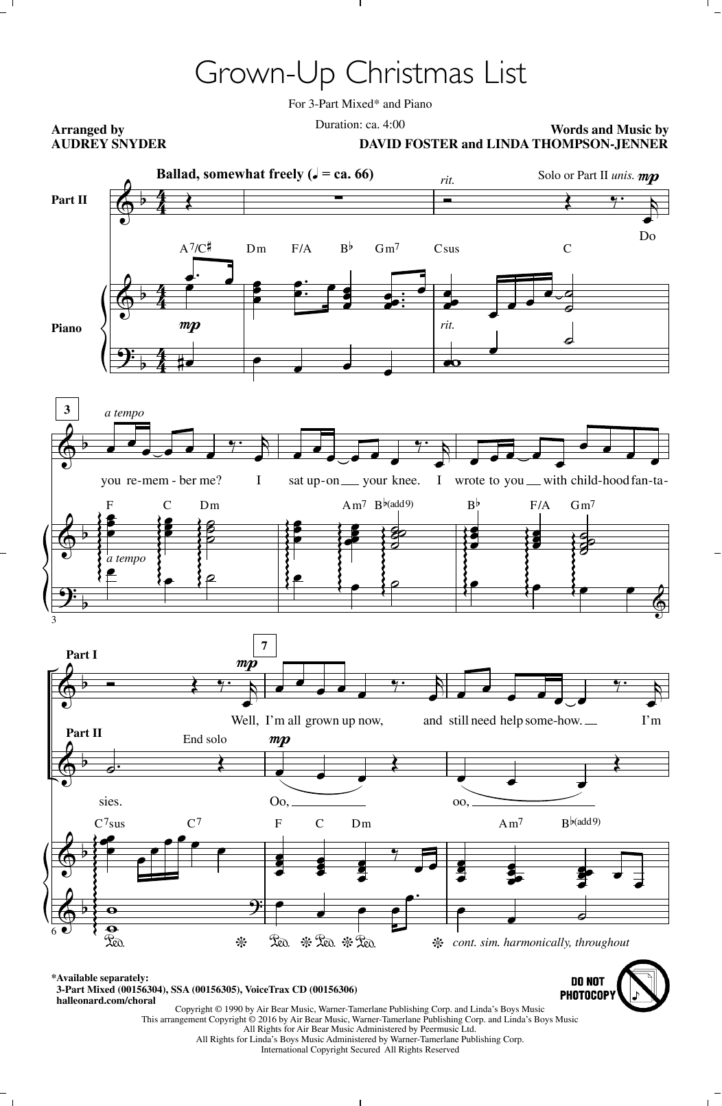 Download Audrey Snyder 'Grown-Up Christmas List' Digital Sheet Music Notes & Chords and start playing in minutes