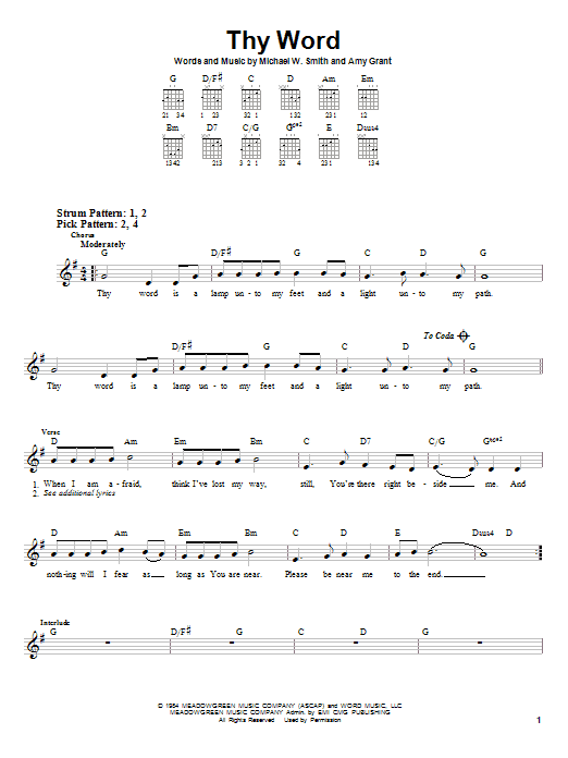 Download Amy Grant 'Thy Word' Digital Sheet Music Notes & Chords and start playing in minutes