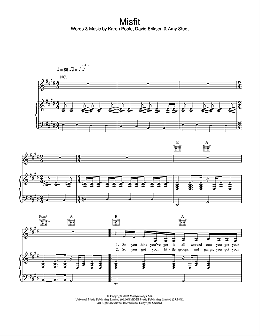 Download Amy Studt 'Misfit' Digital Sheet Music Notes & Chords and start playing in minutes
