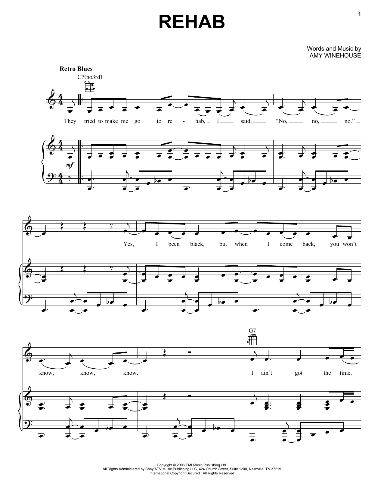 Amy Winehouse Rehab sheet music preview music notes and score for Piano, Vocal & Guitar (Right-Hand Melody) including 6 page(s)