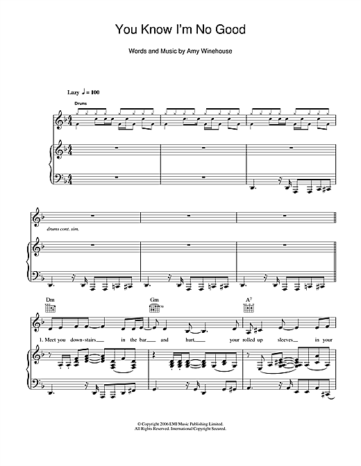 Download Amy Winehouse 'You Know I'm No Good' Digital Sheet Music Notes & Chords and start playing in minutes