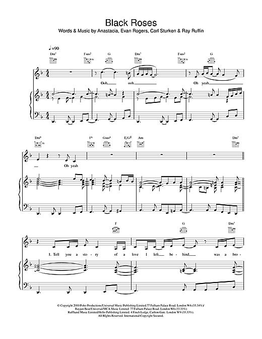 Anastacia Black Roses sheet music notes and chords