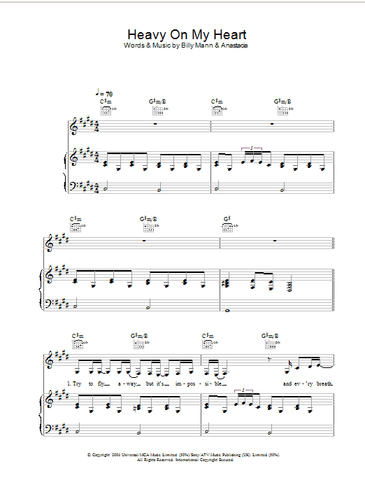 Anastacia Heavy On My Heart sheet music preview music notes and score for Piano, Vocal & Guitar including 7 page(s)