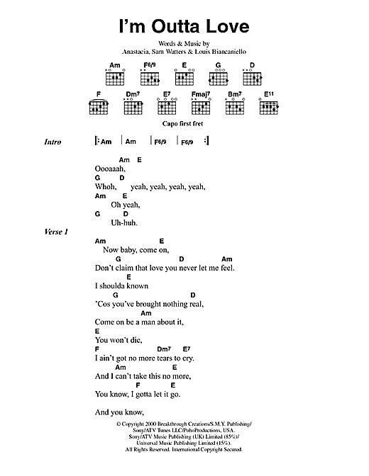 Anastacia I'm Outta Love sheet music notes and chords