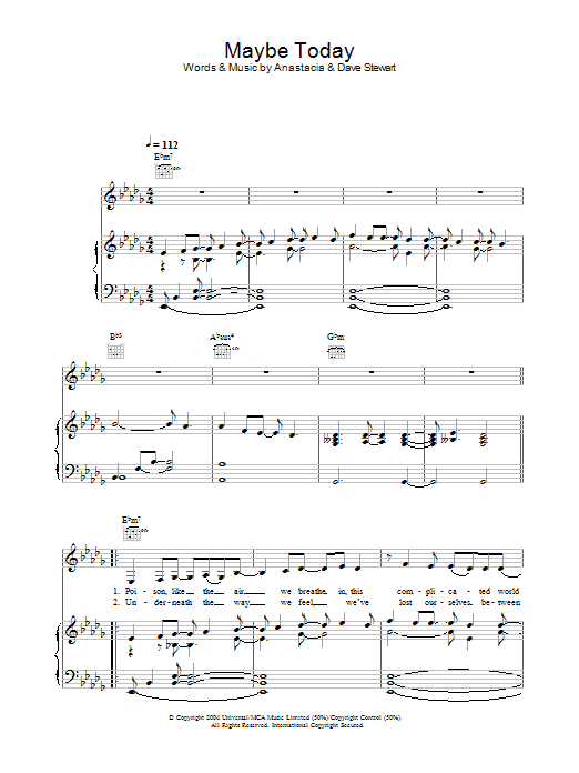 Anastacia Maybe Today sheet music preview music notes and score for Piano, Vocal & Guitar including 8 page(s)