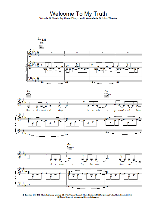 Anastacia Welcome To My Truth sheet music preview music notes and score for Piano, Vocal & Guitar including 7 page(s)