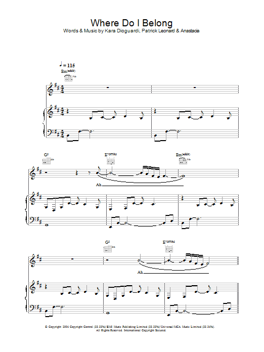 Anastacia Where Do I Belong sheet music preview music notes and score for Piano, Vocal & Guitar including 6 page(s)