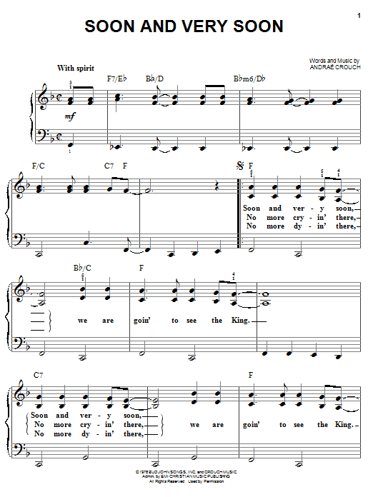 Download Andrae Crouch 'Soon And Very Soon' Digital Sheet Music Notes & Chords and start playing in minutes