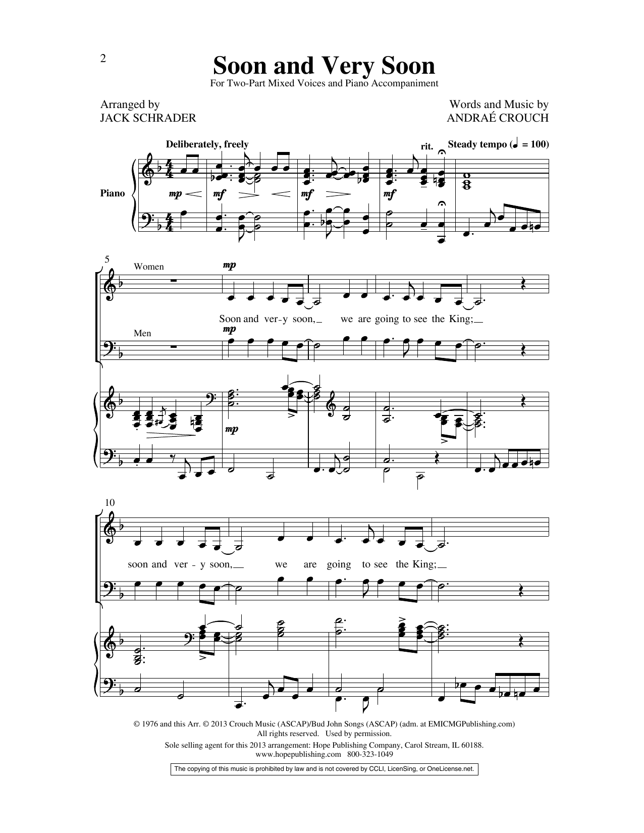 Andrae Crouch Soon and Very Soon (arr. Jack Schrader) sheet music preview music notes and score for SATB Choir including 7 page(s)