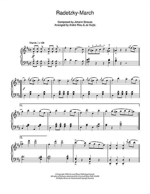 Download Johann Strauss 'Radetsky' Digital Sheet Music Notes & Chords and start playing in minutes