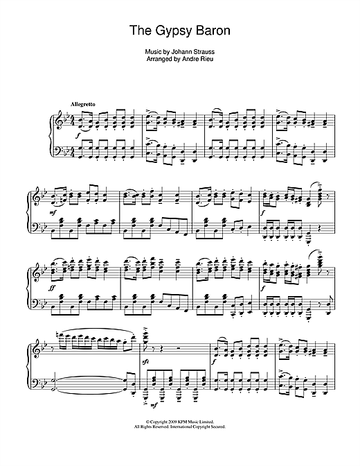 Download Johann Strauss 'The Gypsy Baron' Digital Sheet Music Notes & Chords and start playing in minutes
