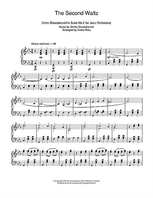 Download Dmitrij Shostakovich 'The Second Waltz' Digital Sheet Music Notes & Chords and start playing in minutes