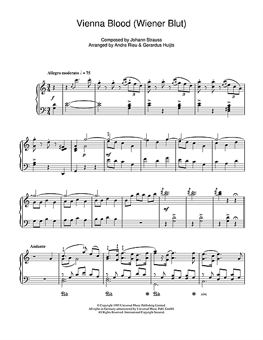 Download Johann Strauss 'Vienna Blood' Digital Sheet Music Notes & Chords and start playing in minutes