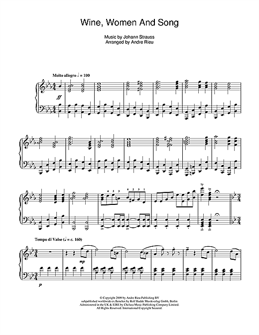 Download Johann Strauss 'Wine, Women And Song' Digital Sheet Music Notes & Chords and start playing in minutes