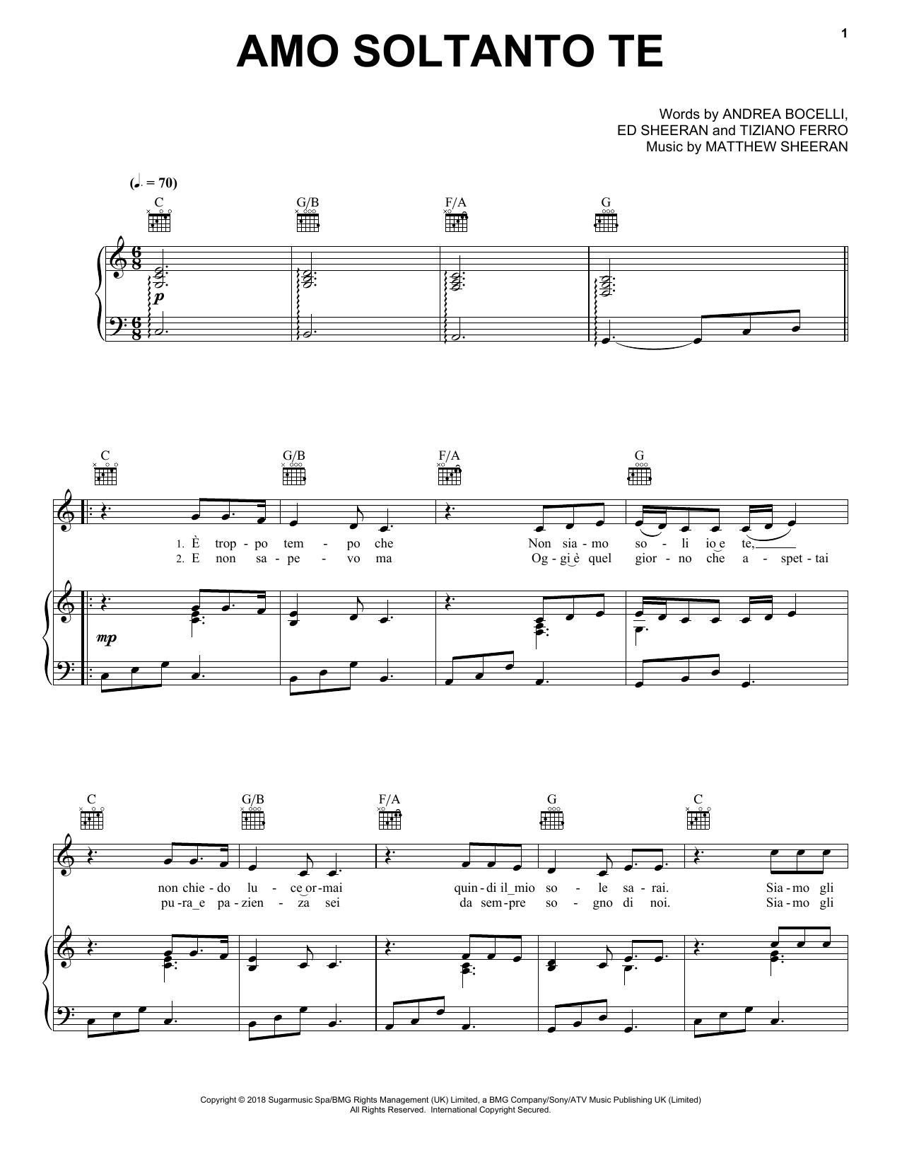 Download Andrea Bocelli 'Amo soltanto te (feat. Ed Sheeran)' Digital Sheet Music Notes & Chords and start playing in minutes