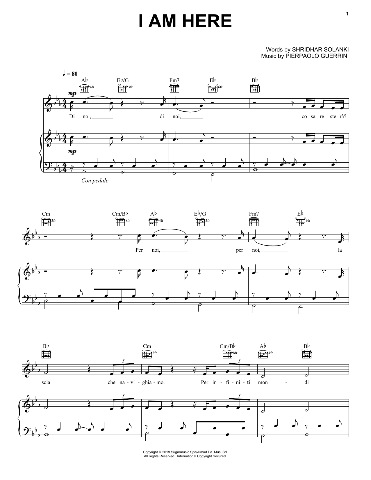Download Andrea Bocelli 'I Am Here' Digital Sheet Music Notes & Chords and start playing in minutes
