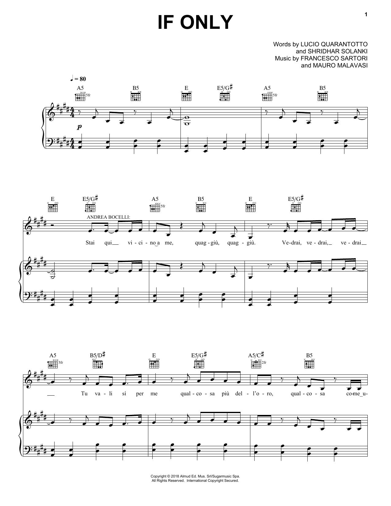 Download Andrea Bocelli 'If Only (feat. Dua Lipa)' Digital Sheet Music Notes & Chords and start playing in minutes
