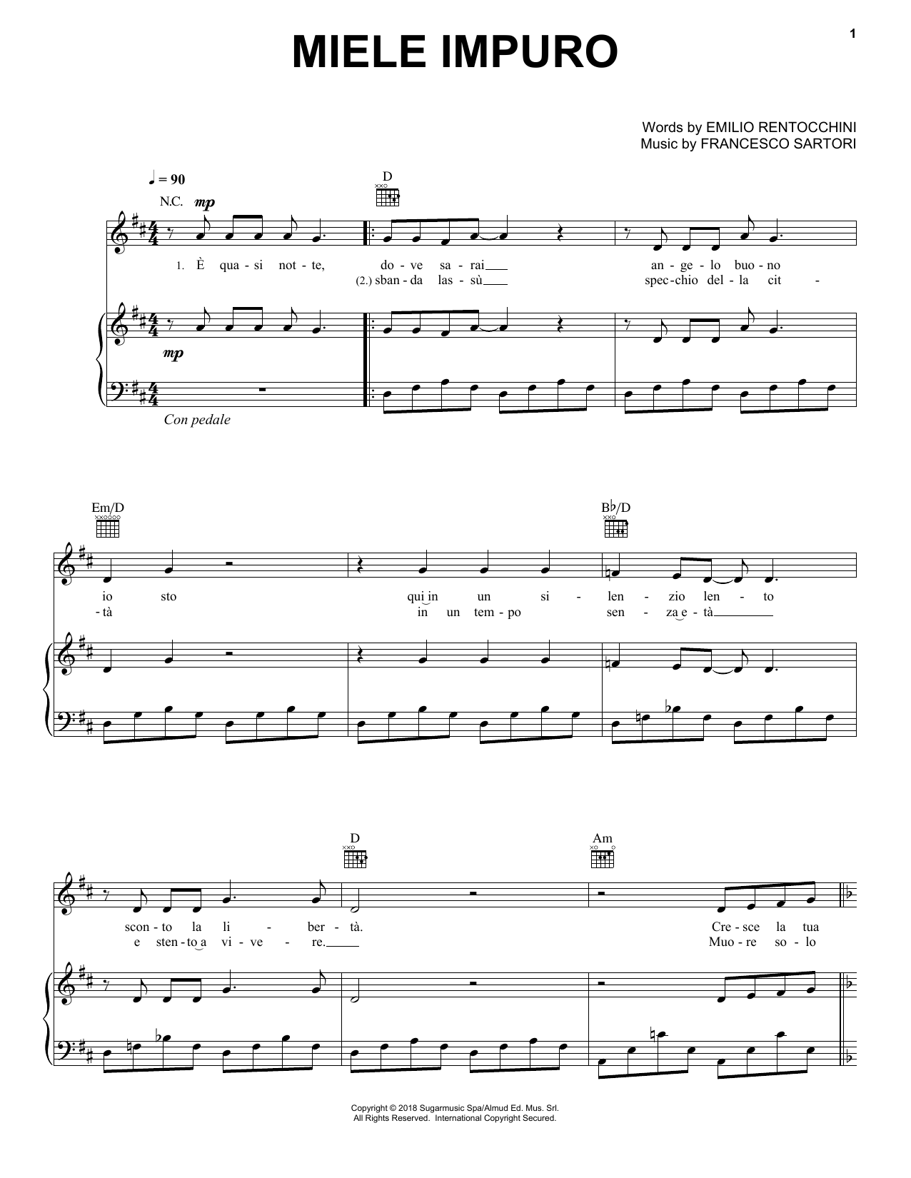 Download Andrea Bocelli 'Miele Impuro' Digital Sheet Music Notes & Chords and start playing in minutes