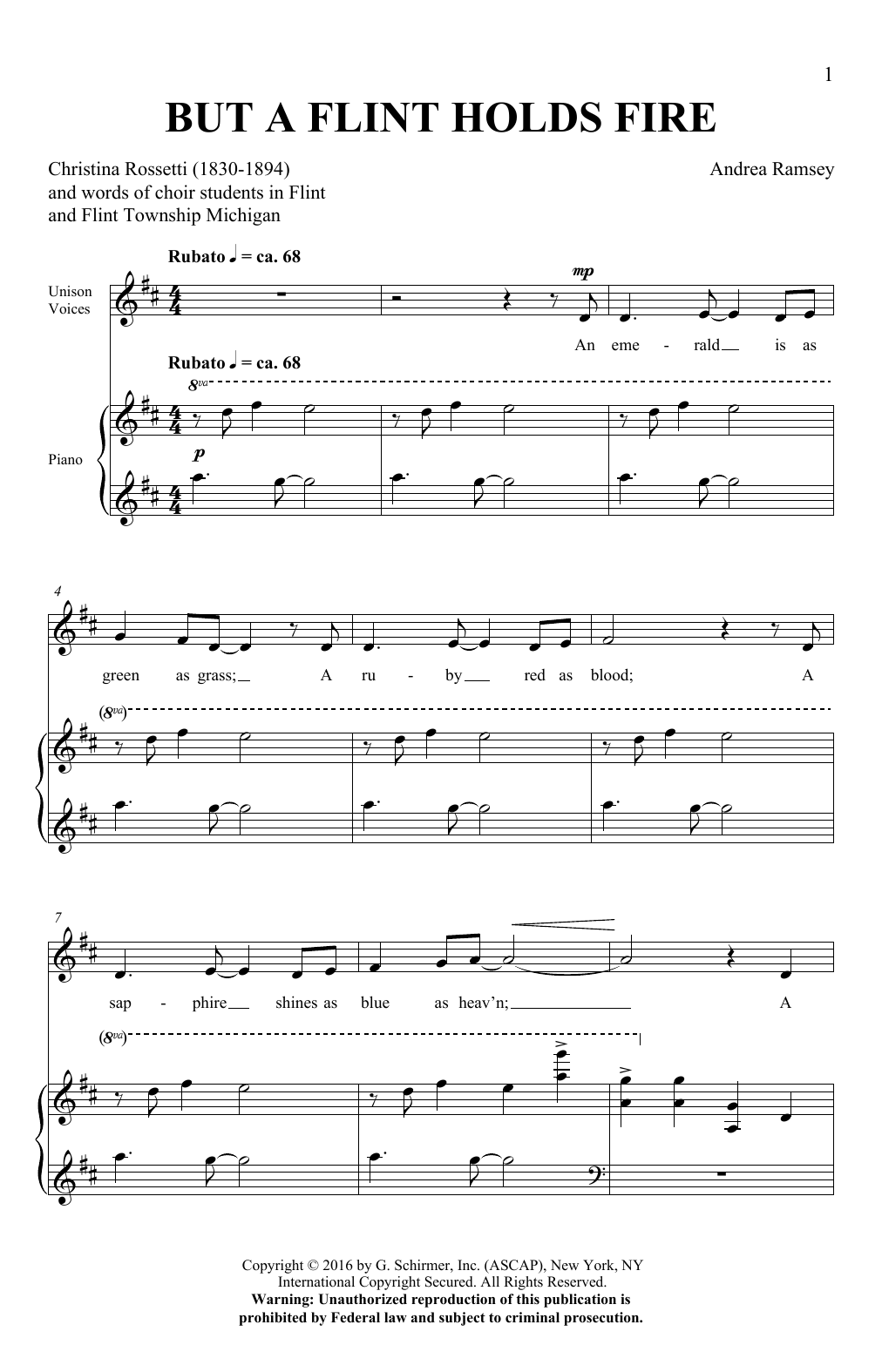Download Andrea Ramsey 'But A Flint Holds Fire' Digital Sheet Music Notes & Chords and start playing in minutes