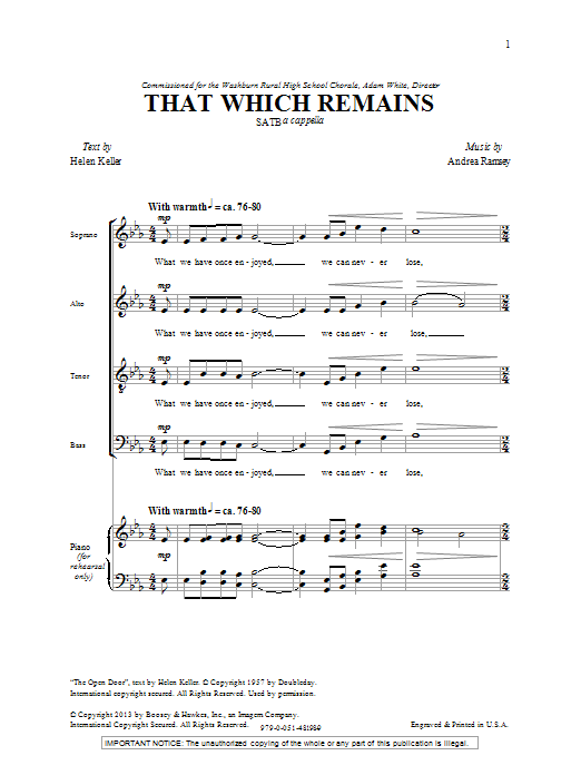 Download Andrea Ramsey 'That Which Remains' Digital Sheet Music Notes & Chords and start playing in minutes